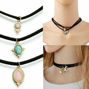 Jewelry - 6pcs Choker Pendant Necklace Bundle Sun Moon Star